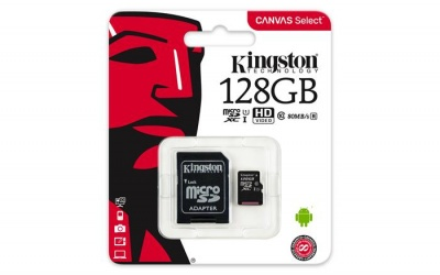 "Memóriakártya, microSDXC, 128GB, CL10/U1, 80/10 MB/s, adapter, KINGSTON ""Canvas Select"""